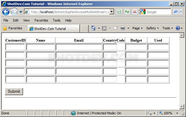 ASP.NET(vb.net) & Microsoft Access Multiple Add/Insert Rows Record