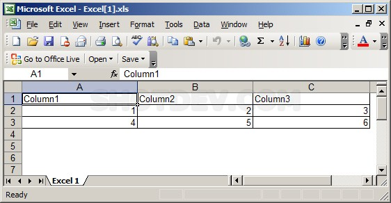 content type excel