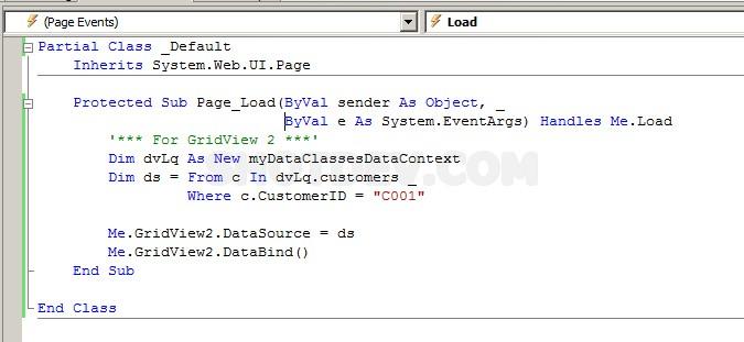 ASP NET(vb net) & LinqDataSource - asp:LinqDataSource