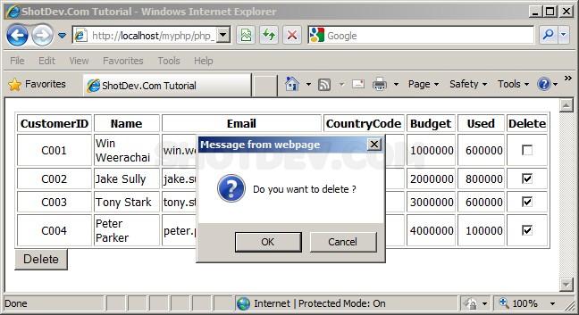 PHP & SQL Server (mssql) Delete Multiple Record Using Checkbox